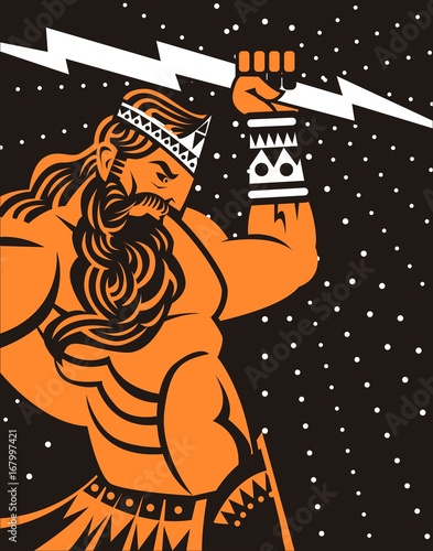 greek roman ray god jupiter zeus orange and black old plate painting Canvas Print