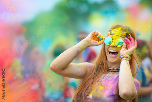 Poster  Holi painted girl