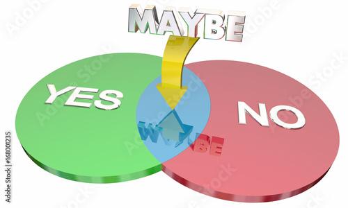 Yes No Maybe Venn Diagram Indecision 3d Illustration Kaufen Sie