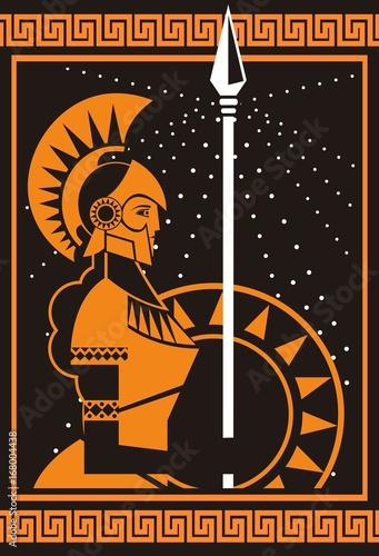 Carta da parati palas athena minerva greek roman mythology goddess orange and black old plate pa