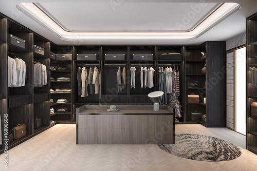 Fotomural  3d rendering minimal scandinavian wood walk in closet with wardrobe