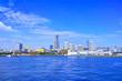 真夏の横浜 大桟橋から見る横浜みなとみらいの全景
