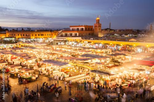 Deurstickers Marokko Jamaa el Fna market square, Marrakesh, Morocco, north Africa. Jemaa el-Fnaa, Djema el-Fna or Djemaa el-Fnaa is a famous square and market place in Marrakesh's medina quarter.