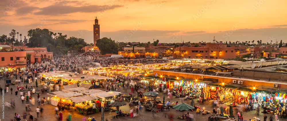 Fototapety, obrazy: Jamaa el Fna market square, Marrakesh, Morocco, north Africa. Jemaa el-Fnaa, Djema el-Fna or Djemaa el-Fnaa is a famous square and market place in Marrakesh's medina quarter.