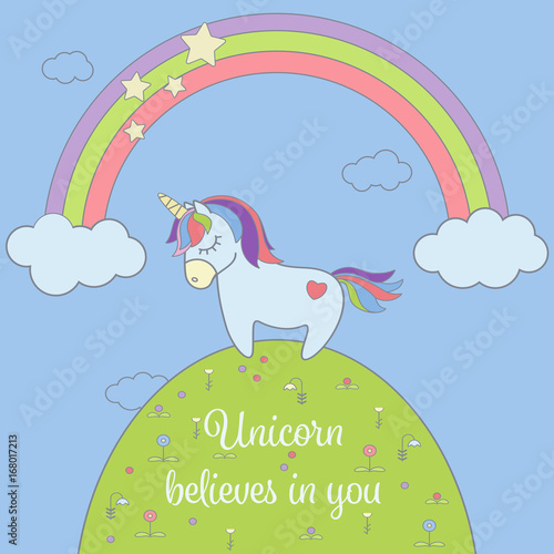 Poster Pony Cute unicorn and rainbow with stars and clouds greeting card. Magical unicorn vector illustration poster.