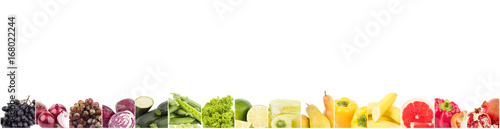 Poster Légumes frais Line from different colored vegetables and fruits, isolated