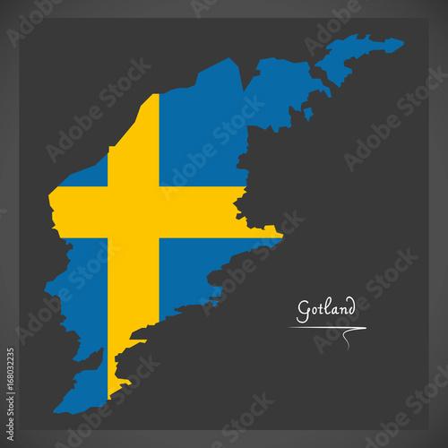 Fotografía  Gotland map of Sweden with Swedish national flag illustration