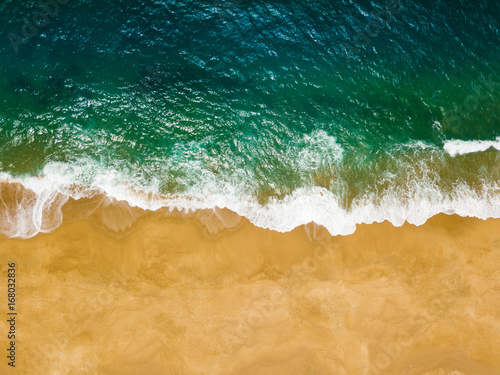 Canvas Prints Countryside Top view of a deserted beach. The Portuguese coast of the Atlantic Ocean