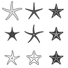Set Of Starfish Icon, Silhouet...
