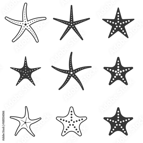 Fotografie, Obraz set of starfish icon, silhouette icon