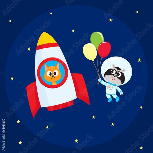 Photo Cute little animal astronaut, spaceman characters, raccoon wearing spacesuit, cat in rocket, flying in open space, cartoon vector illustration