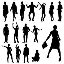 Active People. Set Of Hand Drawn Vector  Silhouettes Of Teenagers In Actions.