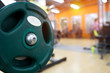 Closeup of weight equipment in fitness center