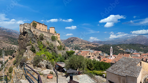 citadel of corte corsica on blue sky wide panorama background / Zitadelle von Corte in Korsika hintergrund