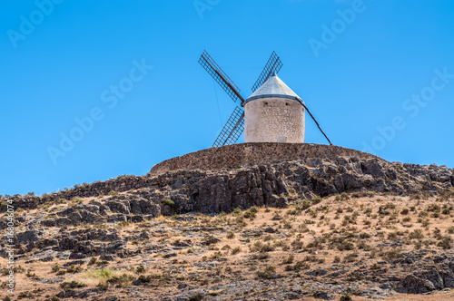 Poster Molens Windmill of Cervantes Don Quixote in Consuegra, Toledo, Castile La Mancha, Spain, Europe