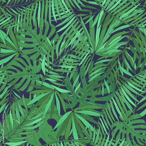 Ingelijste posters Tropische Bladeren Seamless pattern with tropical palm leaves. Green exotic background.