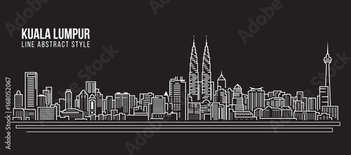Photo Cityscape Building Line art Vector Illustration design - Kuala Lumpur skyline