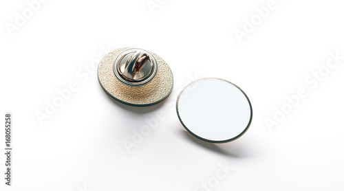 Blank White Ellipse Gold Lapel Badge Mock Up Front And Back Side View 3d