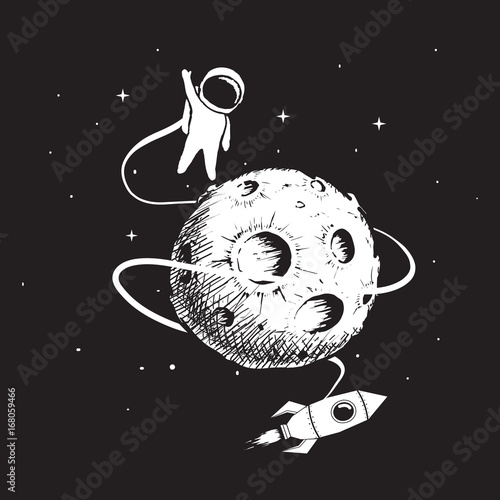 astronaut-with-spaceship-and-moon