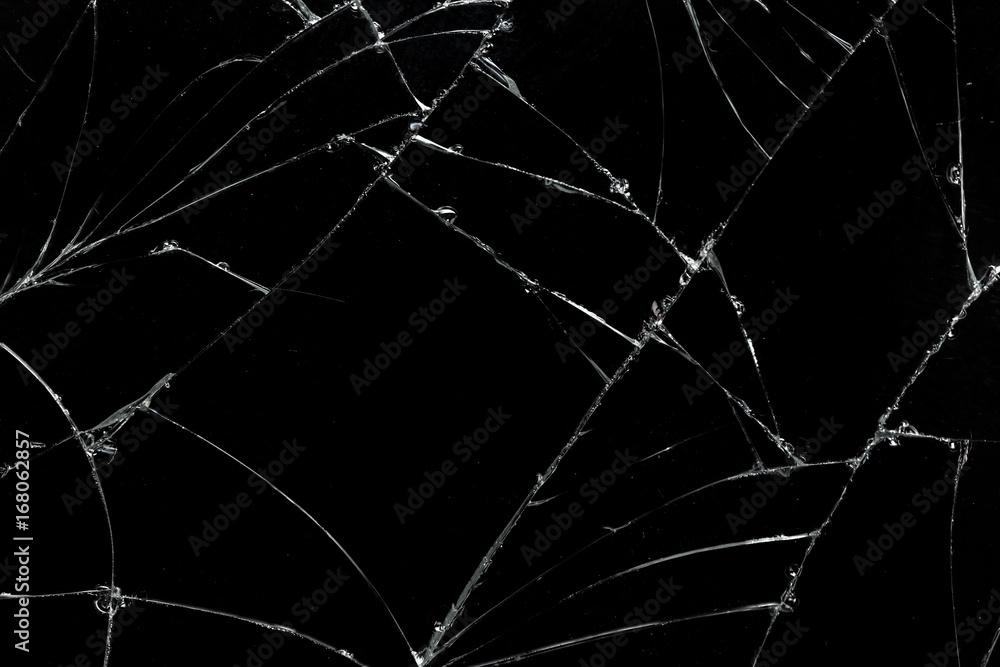 Fototapeta Top view cracked broken mobile screen glass texture background.