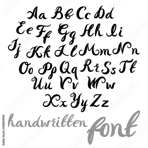 Hand Lettering Alphabet Design Handwritten Brush Modern Calligraphy Font Vector Illustration Isolated On Background