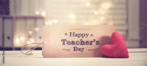 Canvas Prints Countryside Teacher's Day message with a red heart with heart shaped lights