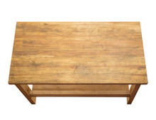 Used Wooden Table Isolated