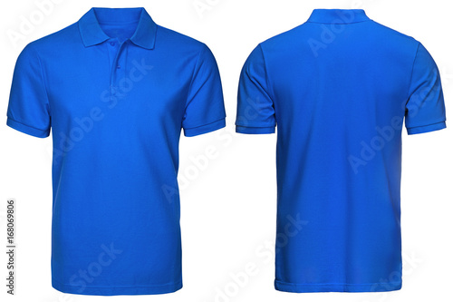 blank blue polo shirt, front and back view, isolated white ...