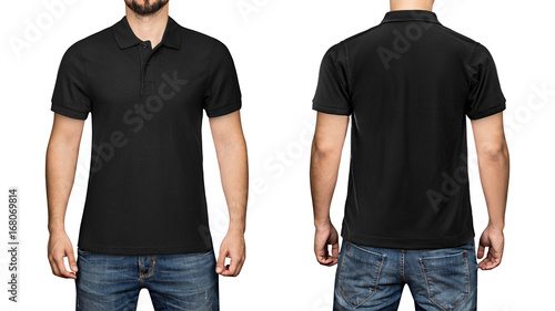 men in blank black polo shirt front and back view isolated white