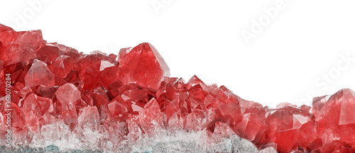 red ruby crystals closeup on white Tablou Canvas