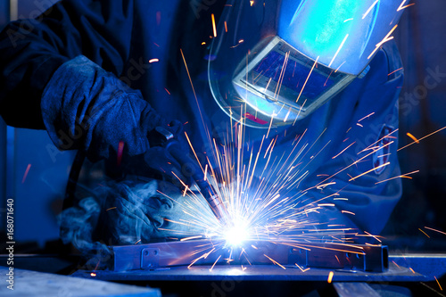 Welder erecting technical steel Wallpaper Mural