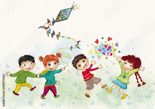 Szczęśliwe dzieci. Akwarela ilustracja.
