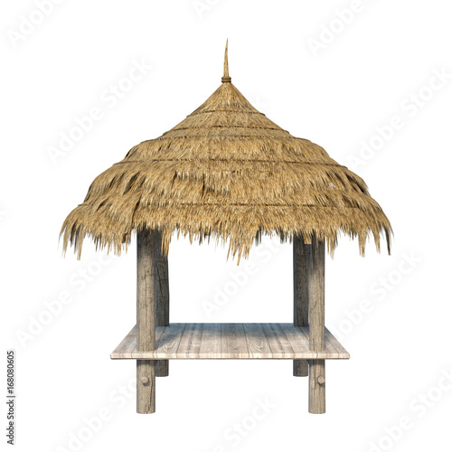 Tablou Canvas 3D Rendering Straw Pavilion on White