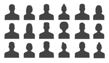 Male And Female Head Silhouettes Avatar, Profile Icons. Vector Illustration