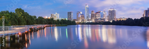 Panorama view of Downtown Austin, Texas, USA skylines reflection on the Colorado River at twilight Canvas Print