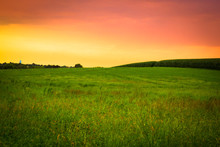 Beautiful Farm Field With Grass, Silo And Corn At Sunset. Amish Country, Lancaster  Pennsylvania