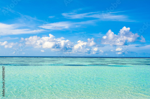 Poster Mer / Ocean Beautiful landscape of clear turquoise Indian ocean, Maldives islands