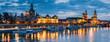 canvas print picture - Skyline von Dresden bei Nacht, Sachsen, Deutschland
