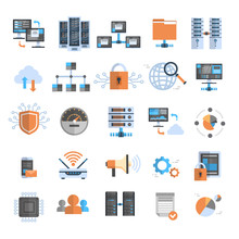 Data Connection Icons Set Cloud Computer Protection Database Synchronize Technology Concept Vector Illustration