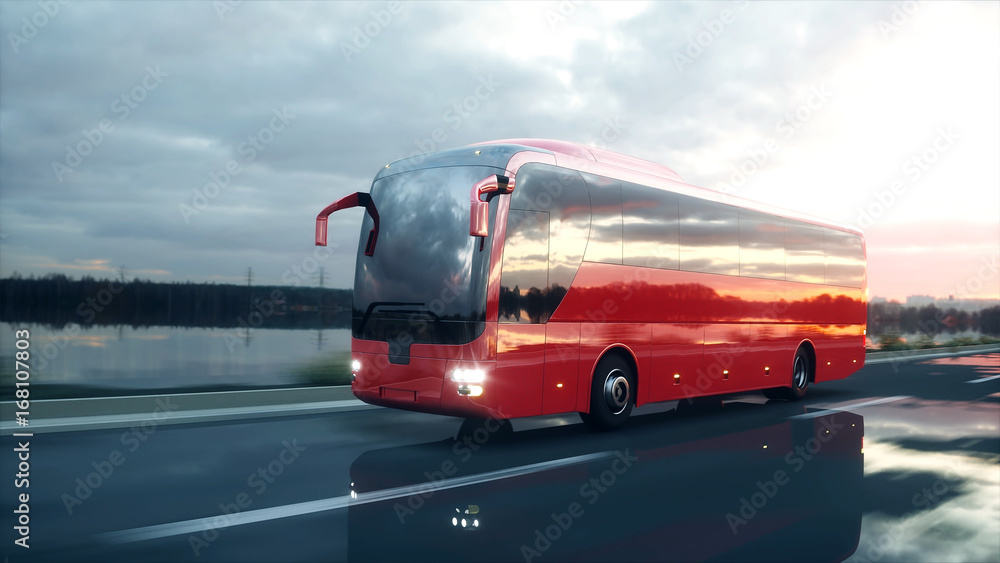 Photo  tourist red bus on the road, highway