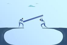 Two Businessmen Building Bridge Over Cliff Gap Mountain Business People Cooperation Help Teamwork Concept Flat Vector Illustration