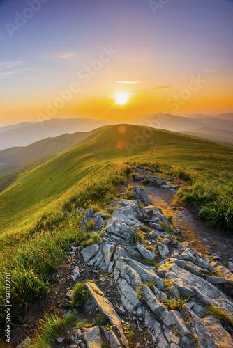Spoed Foto op Canvas Bergen Sunset in the mountains