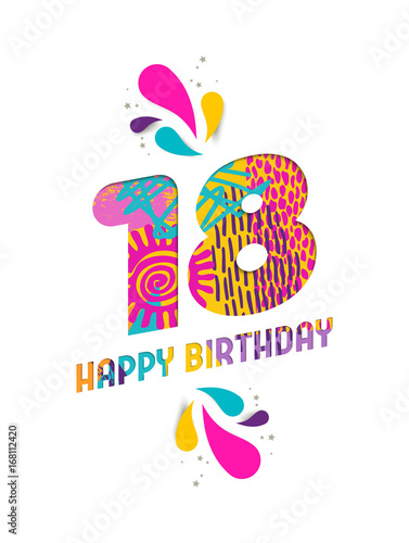Happy birthday 18 year paper cut greeting card Poster Mural XXL