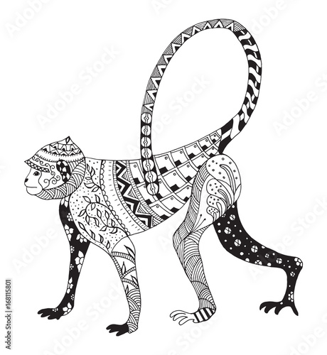 2aa20a984 Zentangle stylized monkey, chinese zodiac, vector, illustration, pattern.  Zen art. Anti stress coloring books for kids and adults.