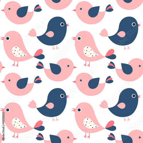plakat Cute vector seamless pattern with pink and blue cartoon birds for baby products, invitations and kid clothes
