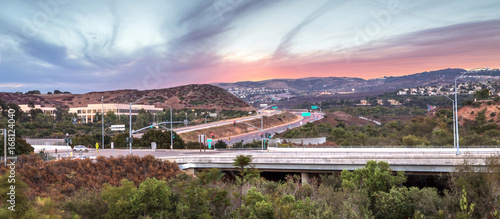 Highway in Irvine, California, at sunset
