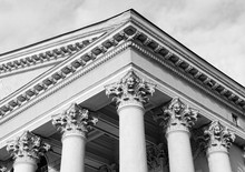 Courthouse. Supreme Court. Ornate Columns And A Pediment In A Style Of Classical Architecture. Legal And Order. Classic Style. Justice. Law. Legal System. Court Hearing. Lawsuit. Court Proceeding