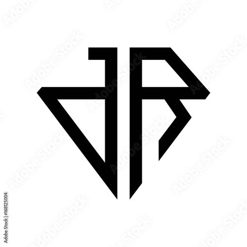 Photo initial letters logo dr black monogram diamond pentagon shape