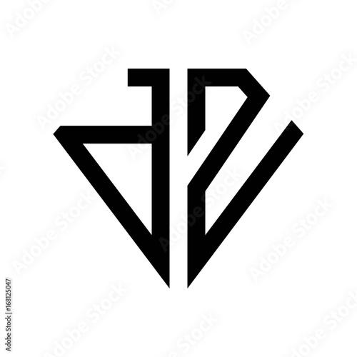 initial letters logo dz black monogram diamond pentagon
