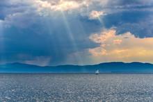 Boat On Lake Champlain Under S...